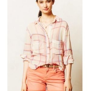 ANTHROPOLOGIE | Holding Horses | plaid boxy top